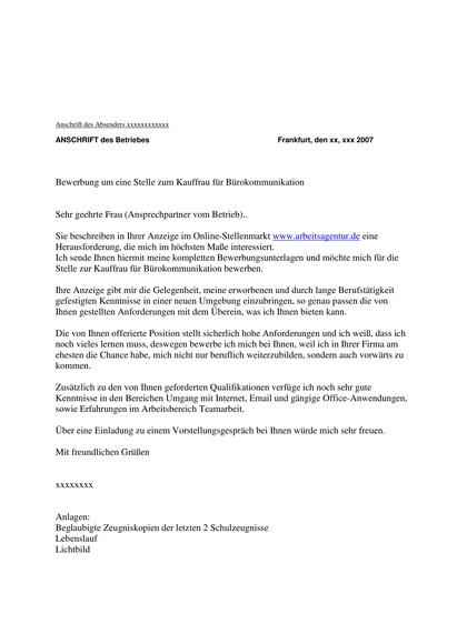 Bewerbungsanschreiben Kauffrau für Bürokommunikation