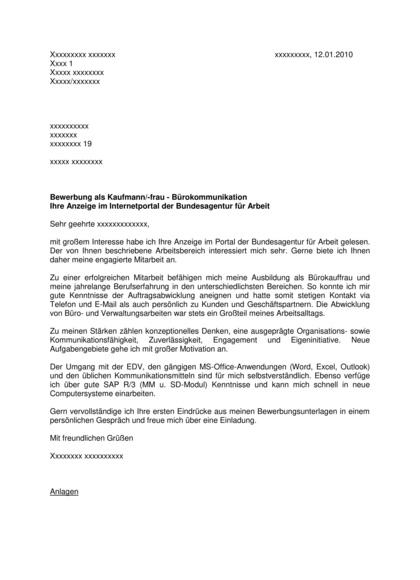 Bewerbungsanschreiben Kauffrau Bürokommunikation