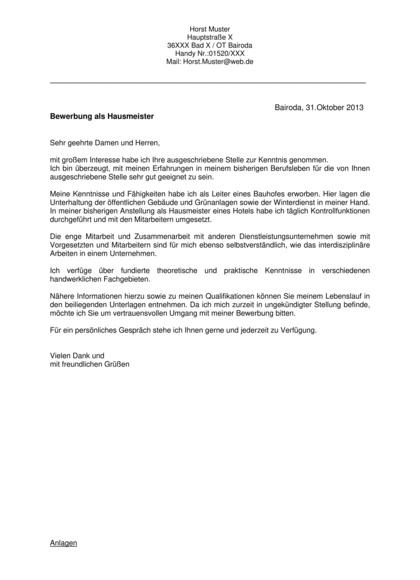 Bewerbungsanschreiben Haustechniker/Hausmeister