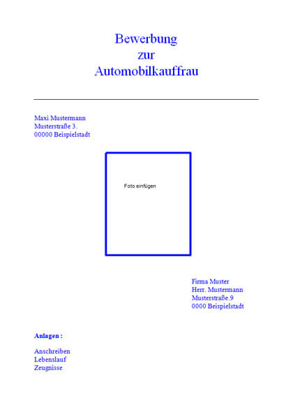 Deckblatt Automobilkauffrau