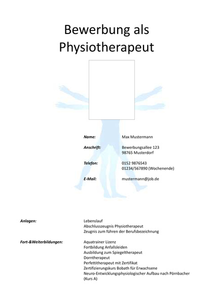 Deckblatt Physiotherapeut