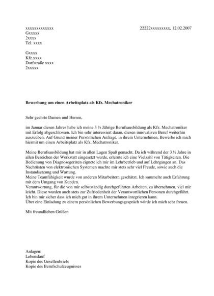 Initiativbewerbung Kfz Mechatroniker