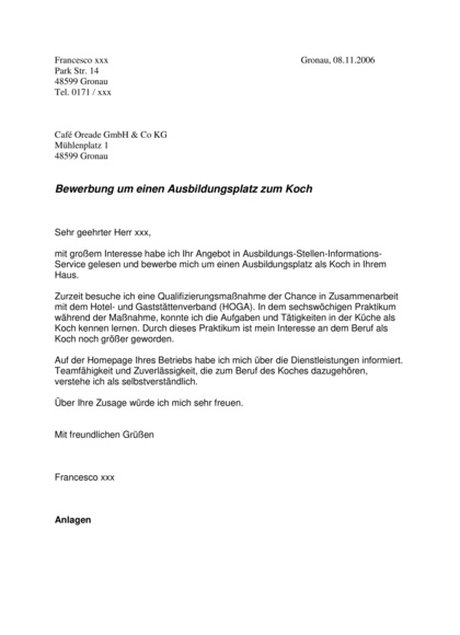 Initiativbewerbung Koch