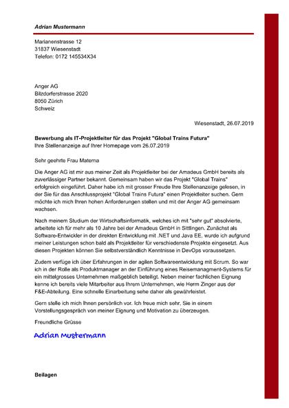 Musterbewerbung Fur Die Schweiz Vorlage Im Online Editor