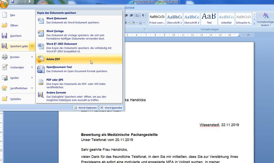 Microsoft Word in PDF umwandeln
