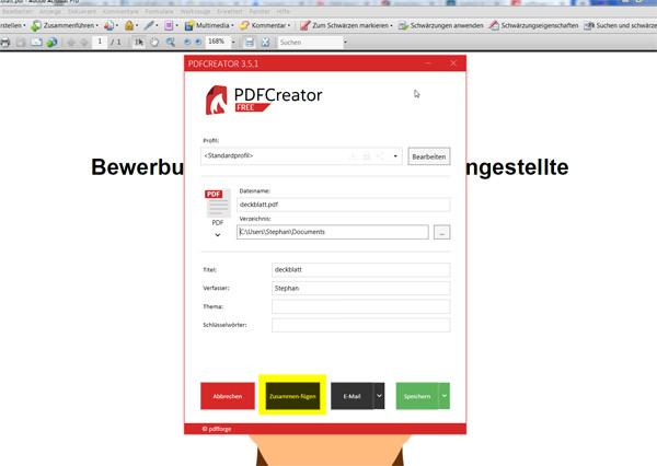 PDF-Dateien zusammenfügen: Schritt 2