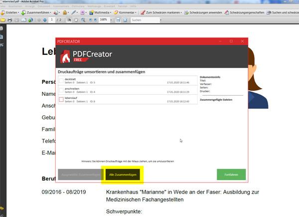 PDF-Dateien zusammenfügen: Schritt 5