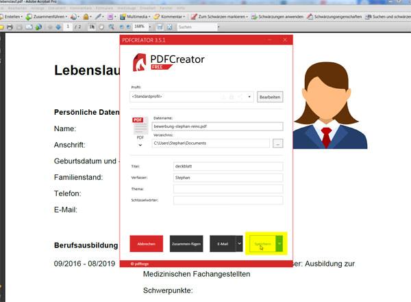 PDF-Dateien zusammenfügen: Schritt 7