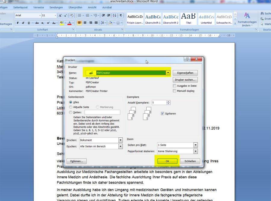 Microsoft Word mit dem PDFCreator als PDF speichern