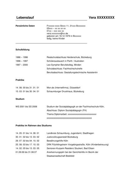 Vorschau Lebenslauf Diplom Sozialpädagogin
