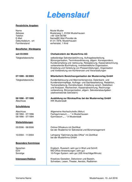 Vorschau Lebenslauf Chefsekretärin (1-seitig)