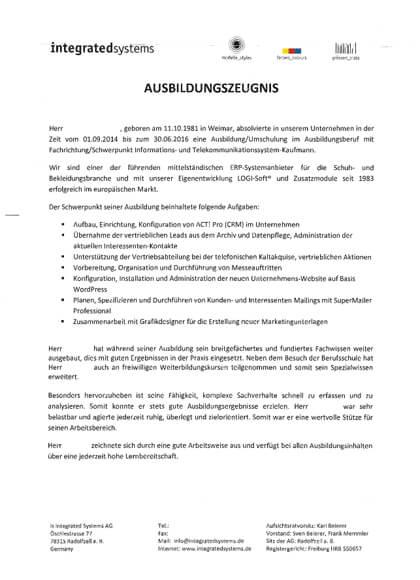 Ausbildungszeugnisse IT-Systemkaufmann