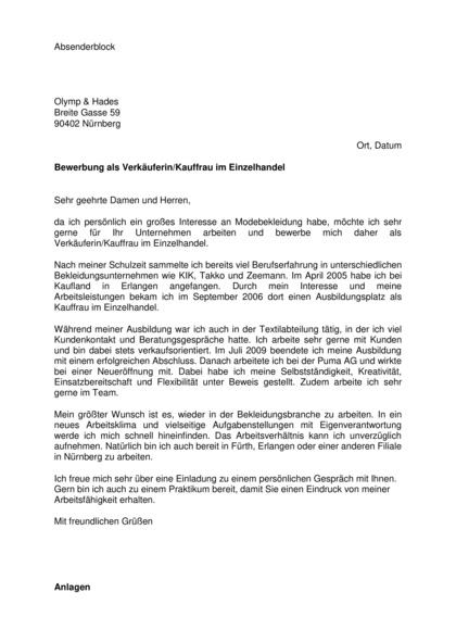 Vorschau Initiativbewerbung Kauffrau im Einzelhandel / Verkäuferin