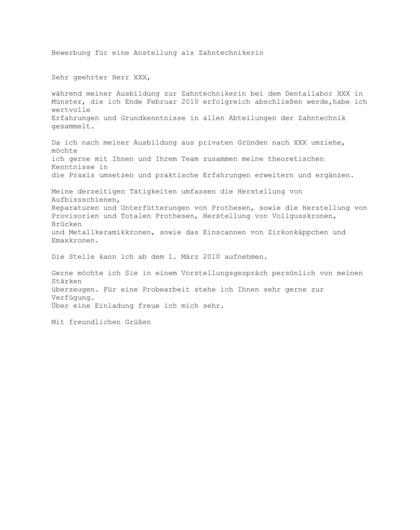 Vorschau Initiativbewerbung Zahntechniker/in