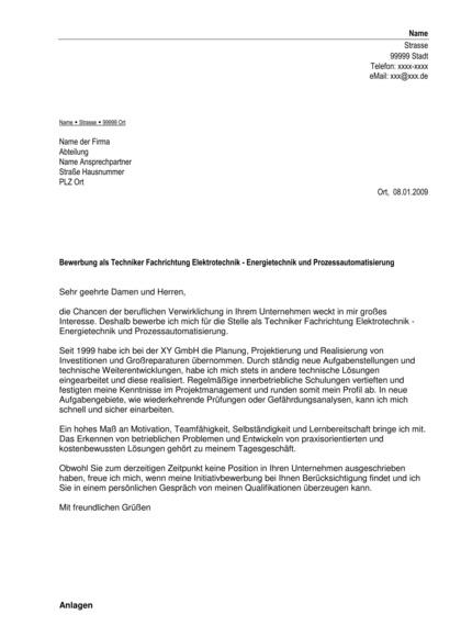 Vorschau Initiativbewerbung Techniker Elektrotechnik-Energietechnik