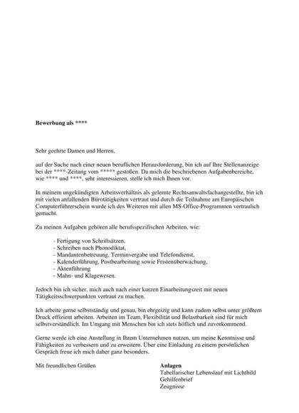 Vorschau Initiativbewerbung Rechtsanwaltsfachangestellte