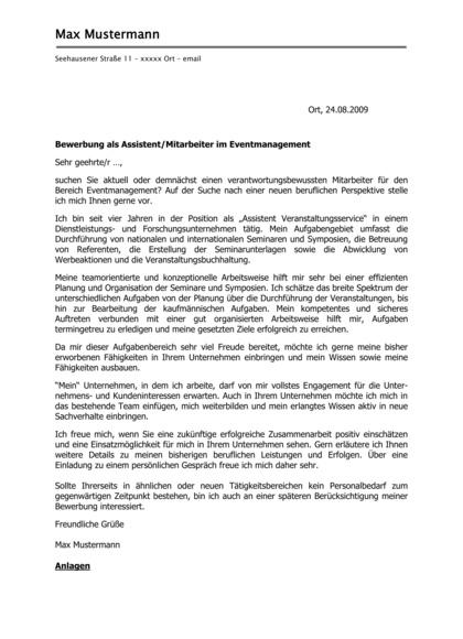 Vorschau Initiativbewerbung Veranstaltungskaufmann / Eventmanagement