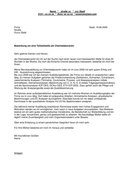 Vorschau Initiativbewerbung Chemielaborantin Teilzeit
