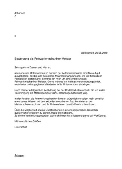 Vorschau Initiativbewerbung Feinwerkmechaniker-Meister