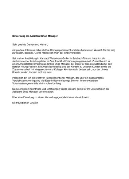 Vorschau Initiativbewerbung Assistant  Shop Manager