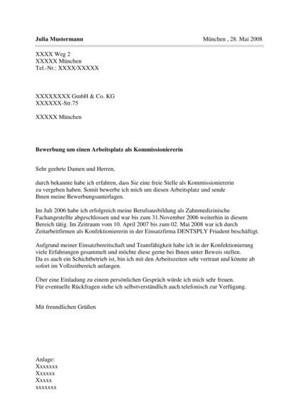 Bewerbungsanschreiben Kommissionierer/in