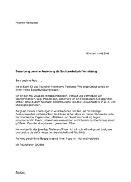 Initiativbewerbung Sachbearbeiterin Vermietung