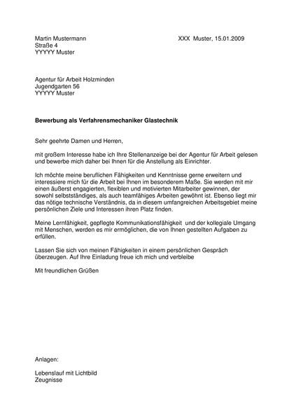 Vorschau Bewerbungsanschreiben Verfahrensmechaniker Glastechnik