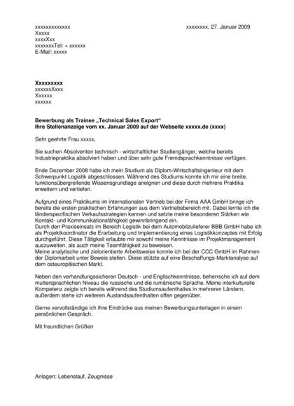 Vorschau Bewerbungsanschreiben Trainee Technical Sales Export