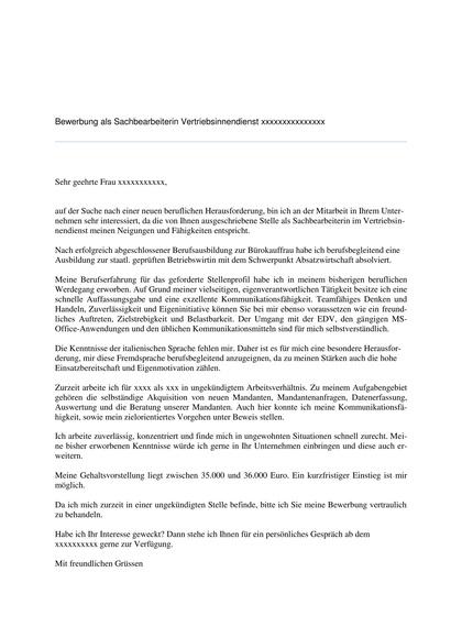 Vorschau Bewerbungsanschreiben Sachbearbeiterin im Vertriebsinnendienst (korrigiert)
