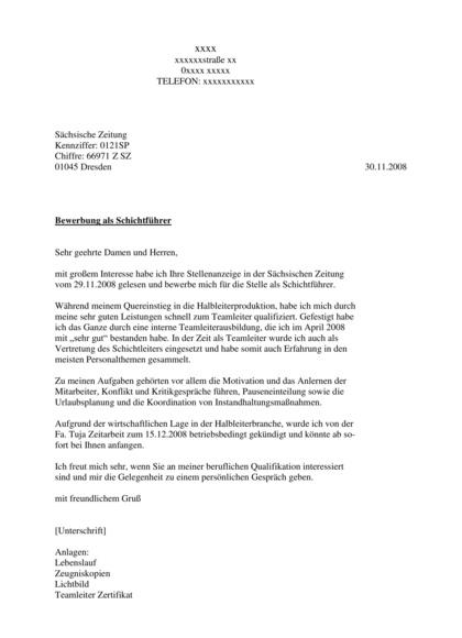 Vorschau Bewerbungsmappen Schichtführer