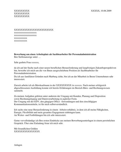 Vorschau Bewerbungsanschreiben Sachbearbeiter Personaladministration