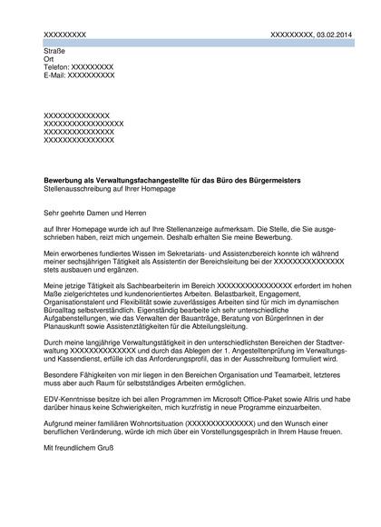 Vorschau Bewerbungsanschreiben Verwaltungsangestellte