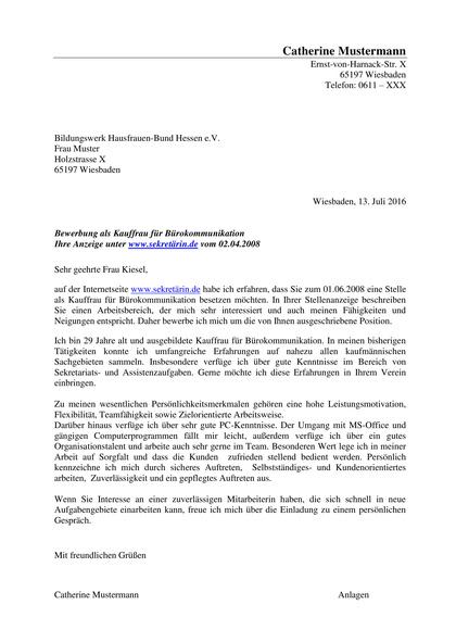 Vorschau Bewerbungsanschreiben Kauffrau für Bürokommunikation