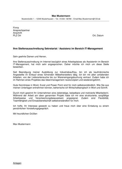 Vorschau Bewerbungsanschreiben Assistentin Bereich IT-Management