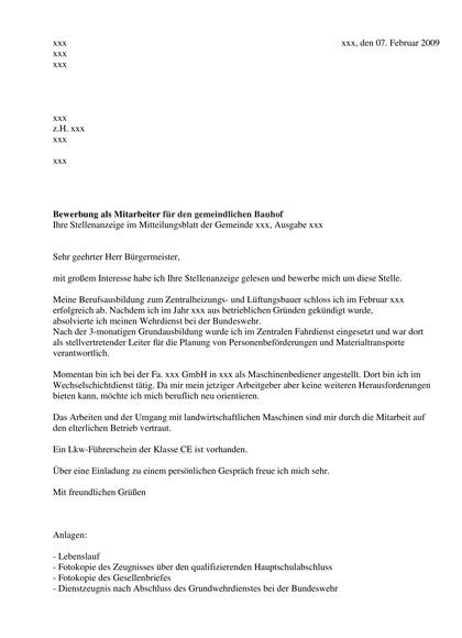 Bewerbungsanschreiben Gemeindearbeiter / Bauhof