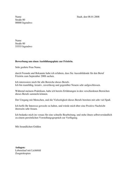 Bewerbungsanschreiben Frisörin / Friseur