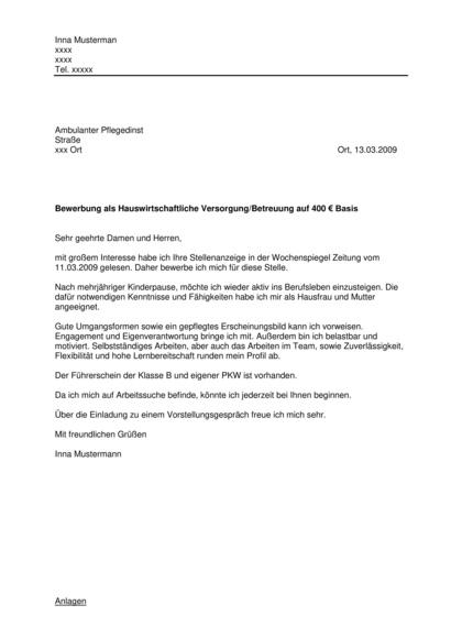 Bewerbungsanschreiben Hauswirtschaftliche Versorgung / Betreuung