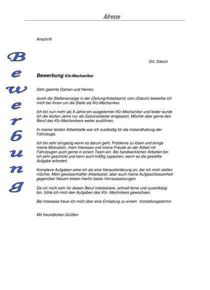 Bewerbungsanschreiben KFZ-Mechaniker