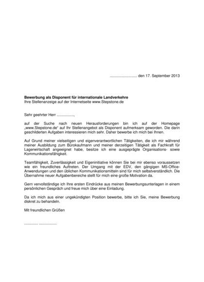 Vorschau Bewerbungsanschreiben Speditionskaufmann Disponent