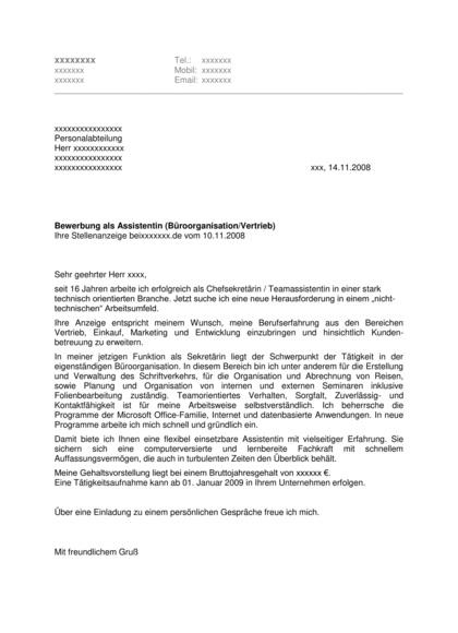 Vorschau Bewerbungsanschreiben Assistentin (Vertrieb)