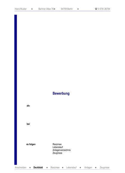 Vorschau Deckblatt berufsunabhängig mit Inhaltsverzeichnis
