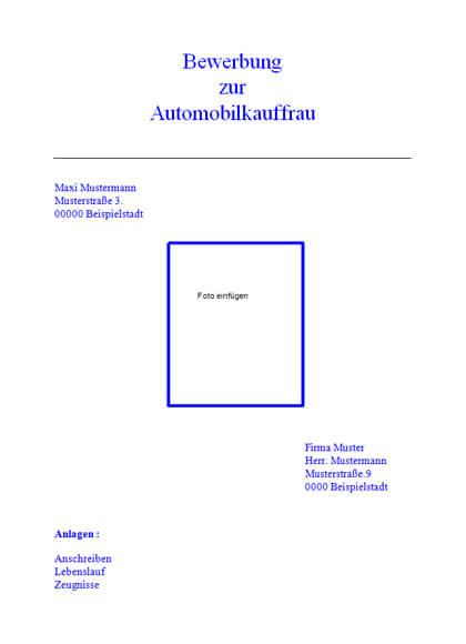 Vorschau Deckblatt Automobilkauffrau