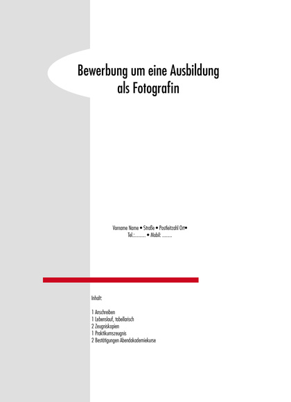 Vorschau Deckblatt Ausbildungsbewerbung Fotografie