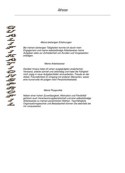Vorschau Dritte Seite Qualifikationsprofil Kauffrau für Bürokommunikation