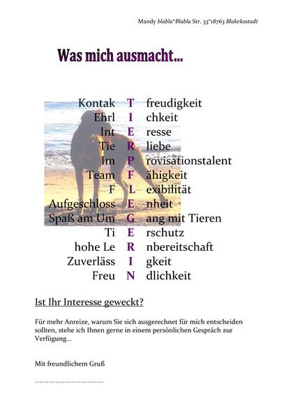 Vorschau Dritte Seite Tierpflegerin Tierheim & Pension