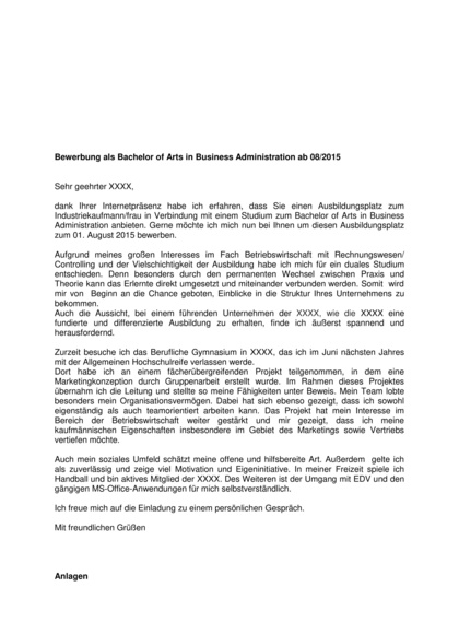 Vorschau Ausbildung Bachelor of Arts Business Administration
