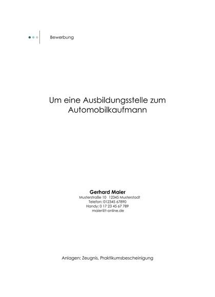 Vorschau Deckblatt Automobilkaufmann