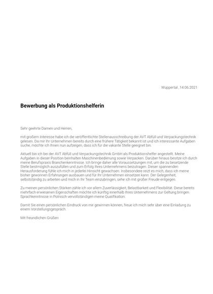 Vorschau Bewerbungsanschreiben Produktionshelfer