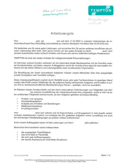 Vorschau Arbeitszeugnisse Kaufmännischer Mitarbeiter/Empfang + Sekretariat