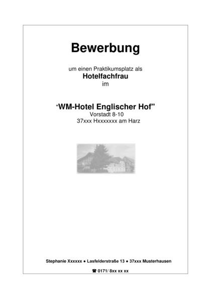 Vorschau Deckblatt Hotelfachfrau (Praktikum)
